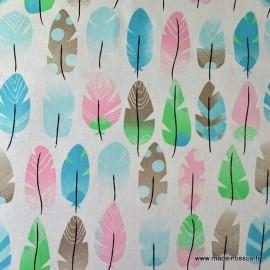Tissu cretonne coton PLUMES ROSE x50cm