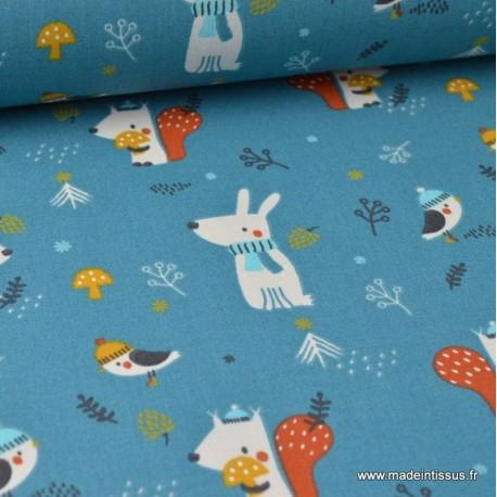 Tissu coton imprimé chiens, oiseaux, champignons et pommes de pin vert canard Oeko tex