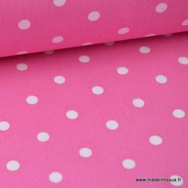 Tissu Popeline coton imprimé gros pois fond fuchsia.