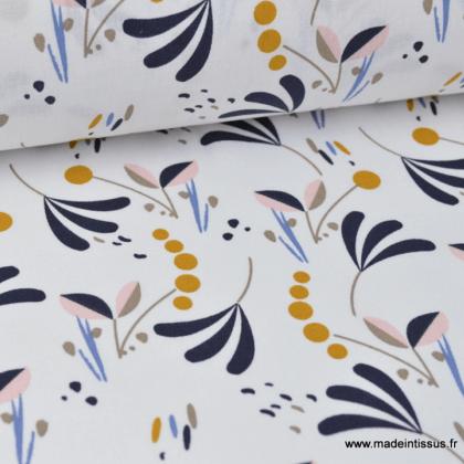 Tissu coton imprimé Feuillage bleu nuit, rose et moutarde sur fond blanc Oeko tex