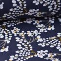 Tissu coton imprimé Cerisiers Japonais Bleu nuit, moutarde, blanc et rose Oeko tex