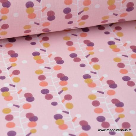 Tissu coton imprimé guirlande rose, prune et moutarde prune et rose Oeko tex