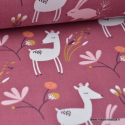 Tissu coton imprimé biches et lapins prune et rose Oeko tex