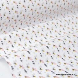 Tissu coton imprimé pétales de fleurs rose poudré et lin Oeko tex