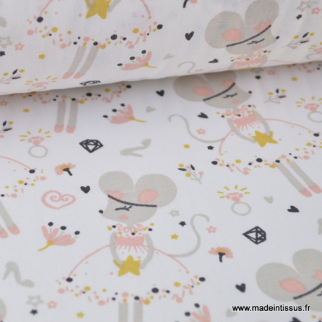 Tissu coton imprimé princesse Souris