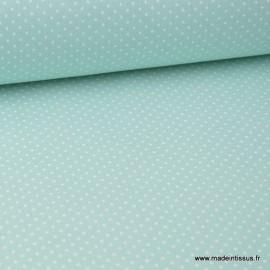 Tissu cretonne coton imprimé Pois blancs fond Menthe