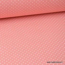 Tissu cretonne coton imprimé Pois blancs fond Corail