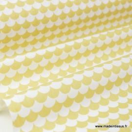Tissu coton imprimé dessin écailles JAUNE .x1m