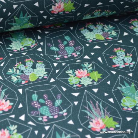 Tissu popeline coton imprimé Palmes Minibiscus