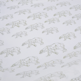 Tissu popeline coton imprimé Ours origami kaki fond blanc