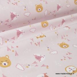 Tissu coton imprimé renard et loups fond mauve