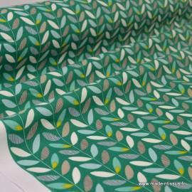 Tissu Cretonne coton imprimé feuilles olaf
