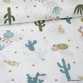 Tissu Popeline imprimé Cactus Pétrole et beige fond blanc. Oeko tex