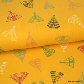 Tissu jersey Oeko tex imprimé Tipis fond Moutarde