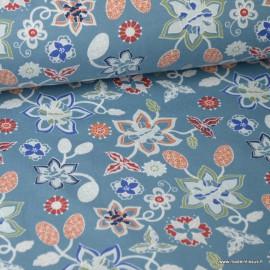 Tissu jersey Oeko tex imprimé Fleurs fond Bleu gris