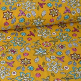 Tissu jersey Oeko tex imprimé Fleurs fond Moutarde
