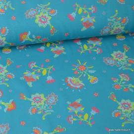 Tissu jersey Oeko tex imprimé Fleurs fond Turquoise
