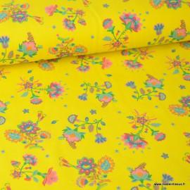Tissu jersey Oeko tex imprimé Fleurs fond Jaune