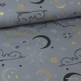 Tissu jersey Oeko tex imprimé Etoiles, lunes et nuages Or et noir fond Gris