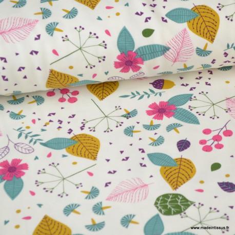 Tissu jersey Oeko tex imprimé Fleurs multicouleurs fond naturel