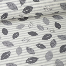 Tissu jersey emerisé à rayures gris et naturel Oeko tex imprimé feuilles grises fond gris chiné