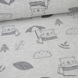Tissu jersey emerisé Oeko tex imprimé Oursons et feuilles fond gris clair chiné