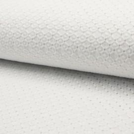 Tissu broderies anglaise coton blanc motifs carrés