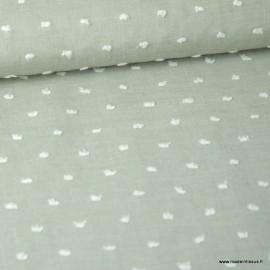 Tissu plumetis voile de coton chambray Kaki