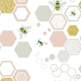 Tissu popeline Oeko tex imprimé hexagones et abeilles menthe, rose et moutarde Katia Fabrics