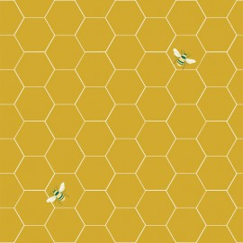 Tissu popeline Oeko tex imprimé hexagones et abeilles moutarde Katia Fabrics