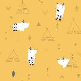 Tissu popeline Oeko tex imprimé tipis et hippopotames moutarde Katia Fabrics