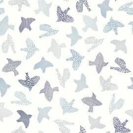Tissu popeline Oeko tex imprimé oiseaux Japonais bleus fond blanc Katia Fabrics