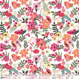 Tissu Coton imprimé Fleurs fond blanc collection FLORAL PETS by Blend Fabrics .x1m