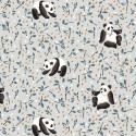 Tissu coton Oeko tex imprimé Pandas fond gris Perle