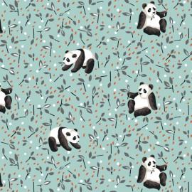 Tissu coton Oeko tex imprimé Pandas fond Céladon
