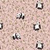 Tissu coton Oeko tex imprimé Pandas fond Rose