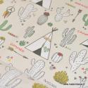 Tissu 100%coton motifs Tipis et Cactus