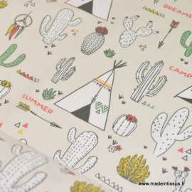 Tissu 100%coton motifs Tipis et Cactus  .x1m