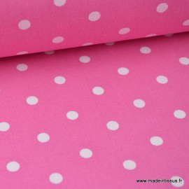 Tissu COTON POIS BLANC FOND FUCHSIA 4916 . x1m