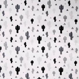 Tissu Popeline  coton imprimé cactus noir et blanc