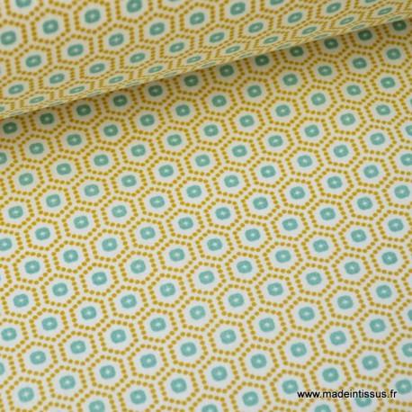 Tissu cretonne coton jaune imprimé tendance graphique x50cm