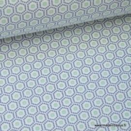 Tissu cretonne coton menthe imprimé tendance graphique .x1m