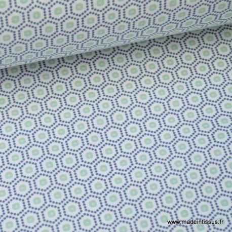Tissu cretonne coton menthe imprimé tendance graphique x50cm