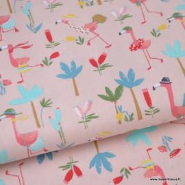 Tissu coton Oeko tex imprimé Flamants et palmiers fond rose by POPPY x1m