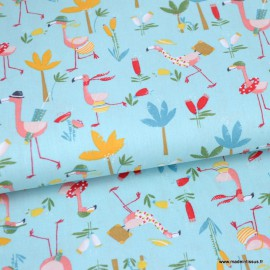 Tissu coton Oeko tex imprimé Flamants et palmiers fond Turquoise by POPPY x1m