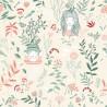 Tissu popeline Oeko tex imprimé fleurs, oiseaux et fillettes fond ivoire Katia Fabrics