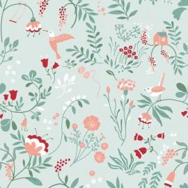 Tissu popeline Oeko tex imprimé fleurs et oiseaux Menthe et Corail Katia Fabrics