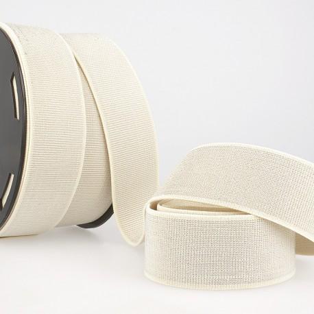 Elastique METAL Souple 40mm coloris Ecru et lurex Argent