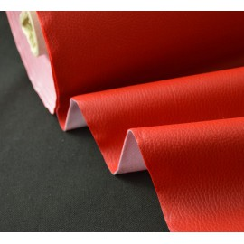 Tissu Simili cuir ameublement rigide rouge .x1m