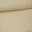Tissu popeline à rayures Moutarde et blanches tissé teint